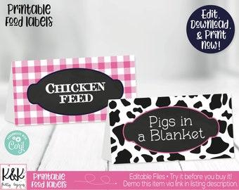 Farm Food Labels, Barnyard Food Labels, Farm Buffet Cards, Farm Birthday Party Decorations, Barnyard Birthday Party Decorations, Printable