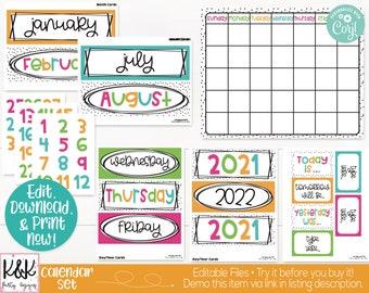 Bright Colors Rainbow Theme Classroom Calendar Set Printable, Teacher Supply, Printable Classroom Teacher Decoration and Supplies, Board Set