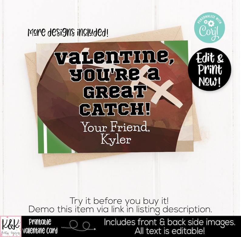 Sports Printable Valentine Card Kids Valentines Day Card image 0