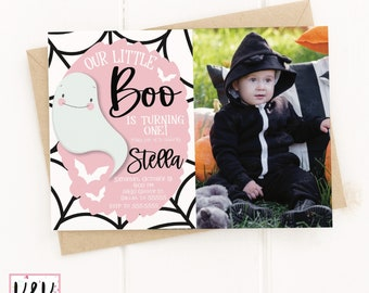 Little Boo Pink Ghost Birthday Party Invitation, Halloween Birthday, Our Little Boo Decor, First Birthday Party, 1st Birthday, Cute Ghost