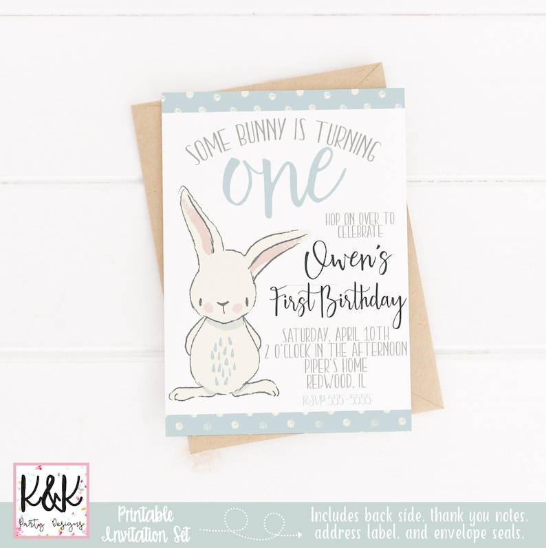 Bunny Birthday Party Invitation Some Bunny is One Spring image 0