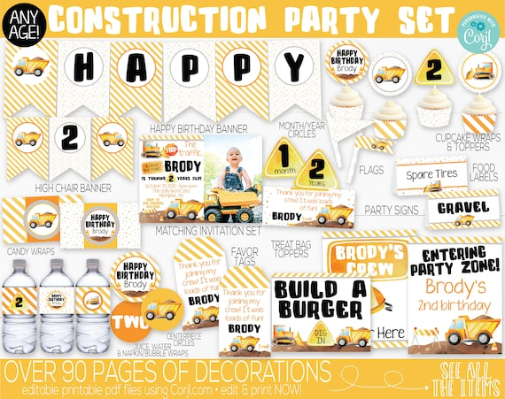 Printable Construction Birthday Construction Label Construction Party Construction Juice Construction Juice Labels