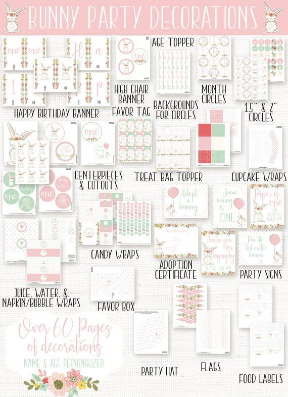 image about Binny's One Day Printable 15 Off named Bunny Birthday Bash Decorations, Undertake a Bunny Indicator, Bunny Birthday Social gathering Signal, Some Bunny is 1, Spring Birthday, Females 1st Birthday