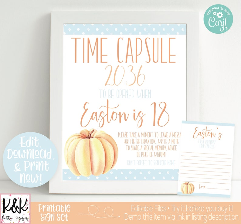 Pumpkin Time Capsule Sign 1st Birthday Capsule Our Little image 0