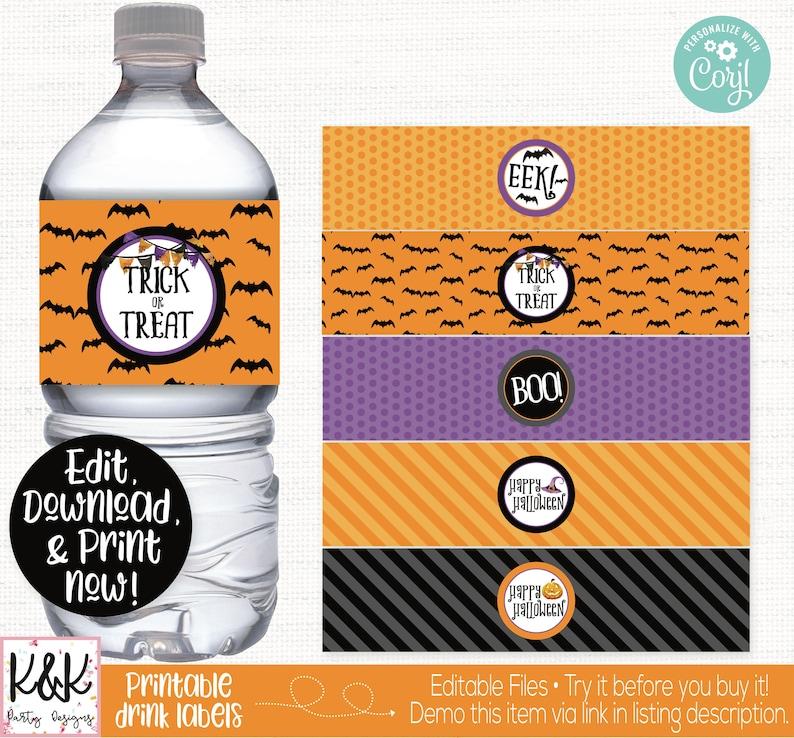 Halloween Water Bottle Label Halloween Drink Bottle Label image 0