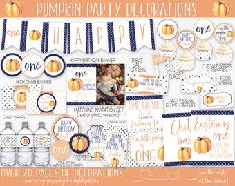 Little Pumpkin Birthday Party Decorations, Pumpkin First Birthday, Pumpkin 1st Birthday, Boy Birthday, Fall Birthday, Invitation, Printable
