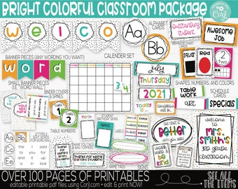 Bright Rainbow Colors Classroom Theme Supplies and Decorations, Teacher Supply, Printable Classroom Decoration and Supplies, Decor Bundle