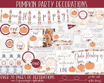 Little Pumpkin Birthday Party Decorations, Pumpkin First Birthday, Pumpkin 1st Birthday, Girl Birthday, Fall Birthday, Invitation, Printable