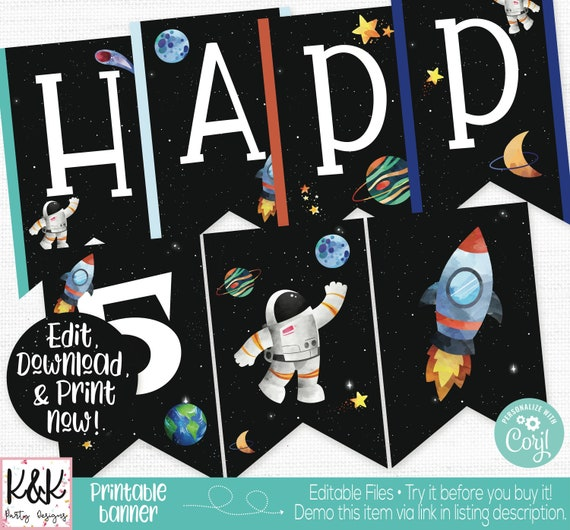 Space Banner Astronaut Backdrop Galaxy Birthday Party Poster Space Theme Sign Astronaut Party Step /& Repeat Galaxy Party
