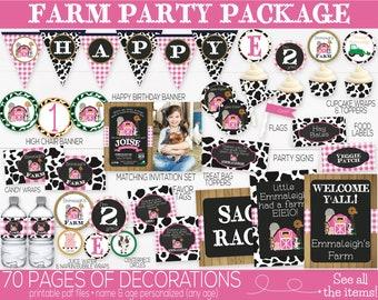Farm Birthday Party Decorations, Barnyard Birthday Decorations, Pink Farm Animals Decorations, Farm Invitation, First Birthday 1st Birthday