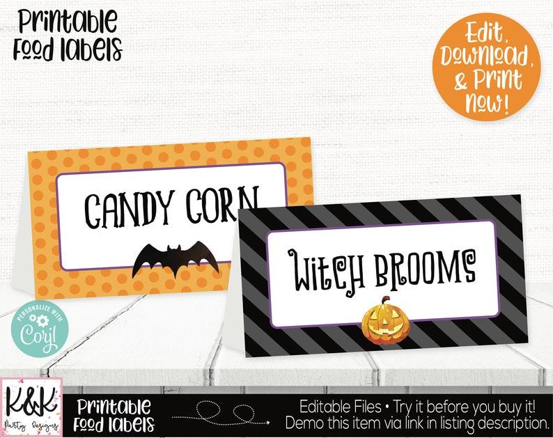 Halloween Food Labels Halloween Buffet Cards Halloween Place image 0