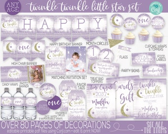 Editable Twinkle Twinkle Little Star Birthday Party Decorations and Invitation, Girls First Birthday, 1st Birthday, Gold Purple Decorations