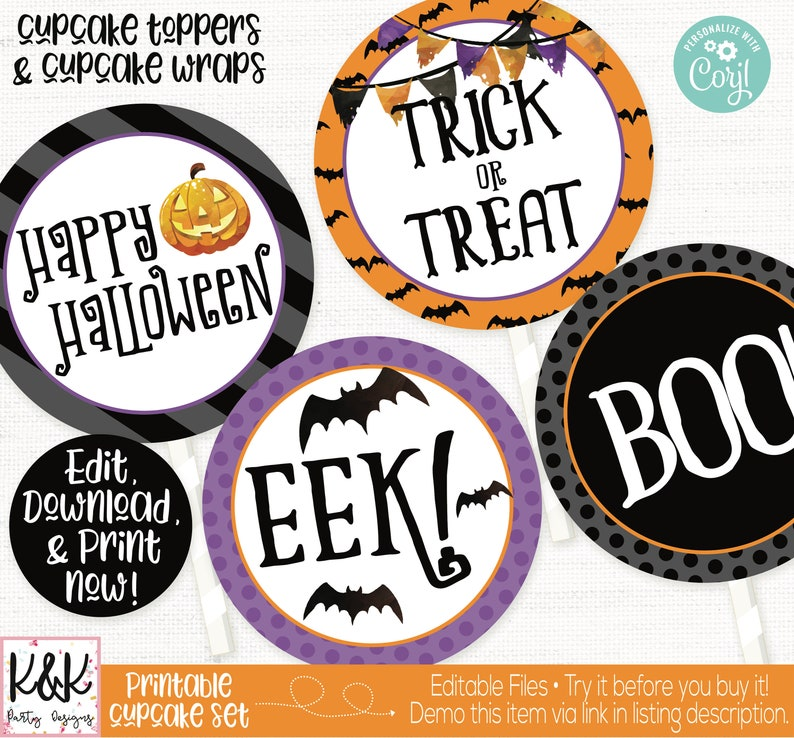 Halloween Cupcake Toppers Halloween Party Decorations Kids image 0