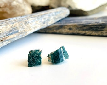 Grandidierite Raw Gemstone Earrings, Extremely Rare Natural Blue Gem, Talisman for the Third Eye Chakra, Awakening Intuition & Clairvoyance