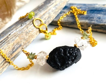 """Moldavite, Herkimer Diamond, Tektite and Peridot Necklace, The Most Powerful Crystal Healing Trio plus Gems of Love at the Clasp; 16"""" Long"""