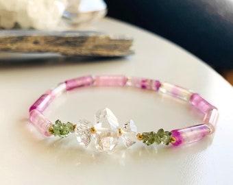 The Inner Temple Bracelet with Genuine Czech Moldavite, Herkimer Quartz Diamonds and Purple Fluorite, Talisman for Divine Transformation