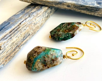 Sacred Sound Earrings with Chrysocolla, Chunky Faceted Gemstones, Talisman for Divine Communication, Songs of the Spheres and Throat Healing