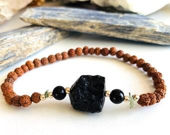 Spirit and Power Men's Bracelet with Genuine Czech Moldavite, Black Obsidian, Tektite and Rudraksha Seeds, Talisman for Awakening and Energy