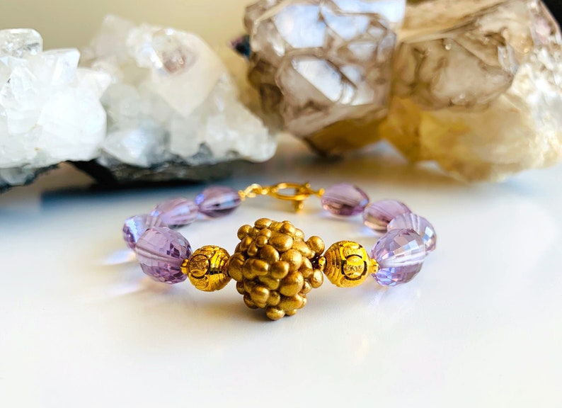 Toggle Clasp Crown Chakra Talisman Heavy Indian Gold Plated Accents Lilac Amethyst Bracelet with Hand Sculpted Floating Rock Garden Bead