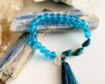Dreaming of the Sea Boho Bracelet with Window Quartz, Turquoise and Blue Glass, Talisman for the Throat Chakra & Awakening Psychic Abilities