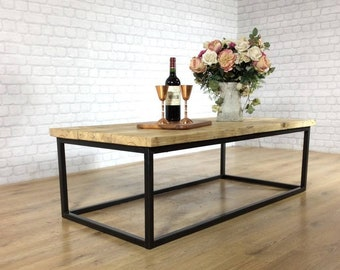 Industrial Coffee Table Solid Wood Vintage Reclaimed Rustic Farmhouse Style Plank Top Metal Steel Chunky Handmade in Britain - FREE DELIVERY