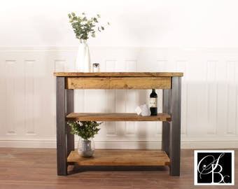 cd12a57d4be Kitchen Island Farmhouse Dining Table Butchers Block Breakfast Bar Rustic  Industrial Storage Unit Solid Wood Worktop Steel Coffee Cafe