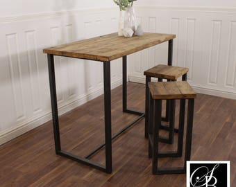 Breakfast Bar Worktop Kitchen Table Stool Solid Wood Set Industrial  Reclaimed Pine Oak Island Butchers Block Bench Rustic Steel Metal Seat