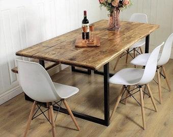 Industrial Dining Table Rustic solid Kitchen farmhouse Steel Reclaimed Chelsea Handmade Britain British Steel Rustic Wood