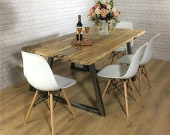 Industrial Dining Table Rustic Solid Wood Kitchen Bench Set Farmhouse Reclaimed Restaurant Metal Bespoke Custom Handmade Britain UK A Frame