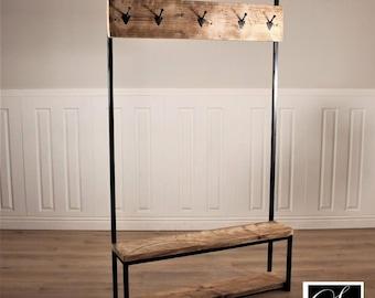 Industrial Coat Rack Stand hall shoe hooks rustic wood retro reclaimed hall storage umbrella stand bench seat handmade in britain custom