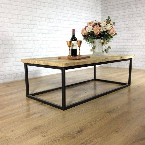 Outstanding Industrial Coffee Table Solid Wood Vintage Reclaimed Rustic Farmhouse Style Plank Top Metal Steel Chunky Handmade In Britain Free Delivery Short Links Chair Design For Home Short Linksinfo