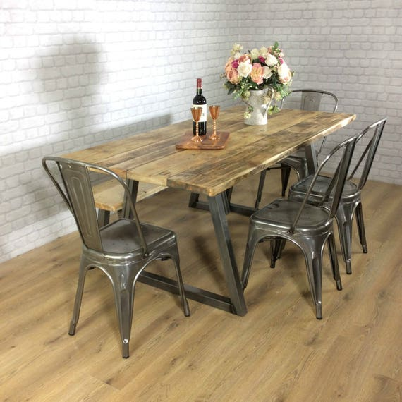 Bench Style Dining Sets: Reclaimed Industrial Dining Table 6 8 Seater Solid Wood