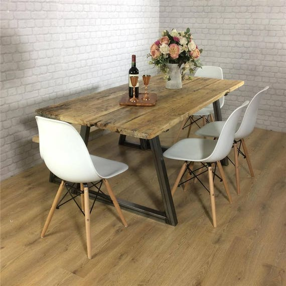 Industrial Dining Table Rustic solid wood Kitchen Bench Set farmhouse  Reclaimed Restaurant Metal Bespoke Custom Handmade Britain UK A-Frame