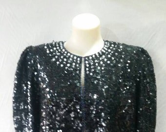 Vintage 80s sequined and beaded floral blazer