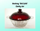 Vintage Hocking Old Café Candy Jar with Royal Ruby Lid