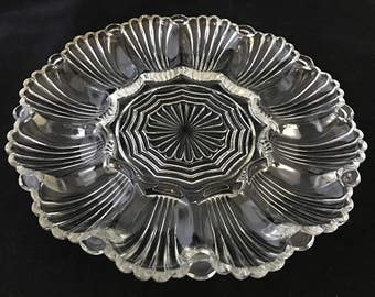 Vintage Deviled Egg Plate Tray 12 Eggs Anchor Hocking #896 1950u0027s Glassware & Deviled egg plate | Etsy