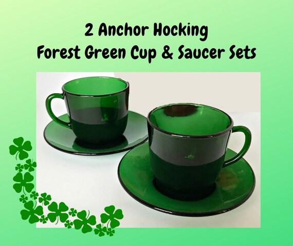 Vintage Anchor Hocking Forest Green Bubble Glass Teacup /& Saucer Set