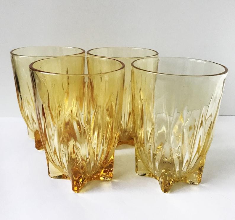 4 Vintage Federal STAR Pattern Yellow 9oz Water Tumblers MCM Glassware