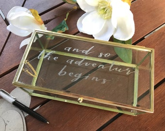 Unique wedding keepsake, guest book, jewellery, home decor personalised glass box