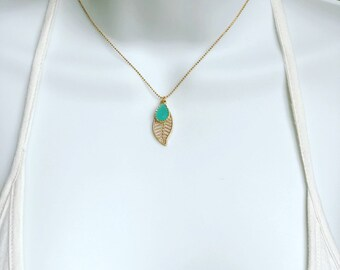 Minimalist Adjustable Gold Plated Ball Chain with a Touch of Mint