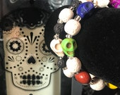 Day of the Dead Bracelet with Lava Beads
