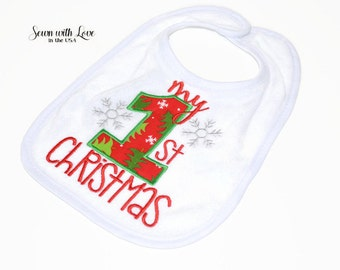 My 1st Christmas Embroidered Baby Bib | Christmas Bib | Gifts Under 10 | Funny Baby Bibs | Baby's First X-Mas | Baby Accessory | Gift