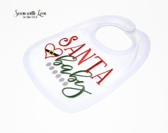 Santa Baby Embroidered Baby Bib | Christmas Bib | Gifts Under 10 | Funny Baby Bibs | Baby's First X-Mas | Baby Accessory | Baby Gift | Bib