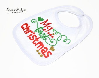My First Christmas Embroidered Baby Bib | Christmas Bib | Gifts Under 10 | Funny Baby Bibs | Baby's First X-Mas | Baby Accessory | Gift