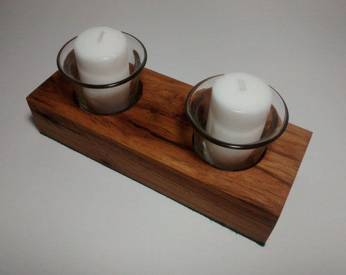 Solid Hickory Wood Votive Candle Holder Centerpiece **Free Shipping**