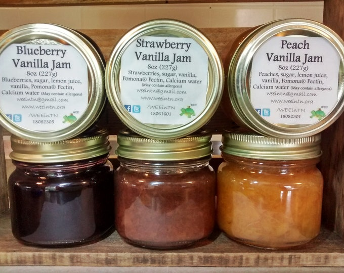 Vanilla Jam Sampler Trio Gift Free Shipping Strawberry Blueberry Peach Jam