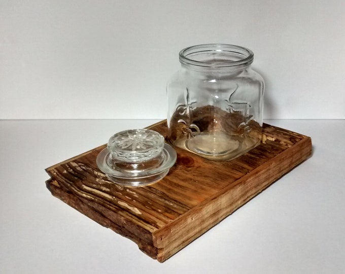 Featured listing image: Handcrafted Pine Wood Smoking Tobacco Tray with Glass Humidor Jar, Loose Tobacco Pipe Jar Tray