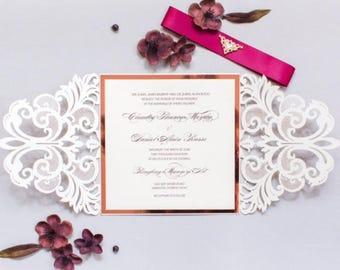 beauty and the beast invitation gold laser cut invitation etsy