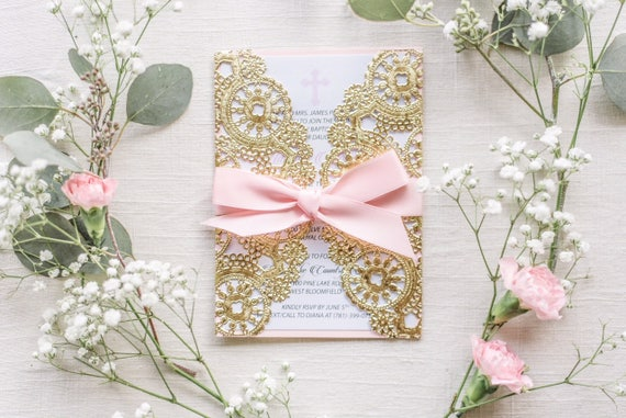 Christening Invitation Card Gold Baptism Invitation Card Baby Etsy