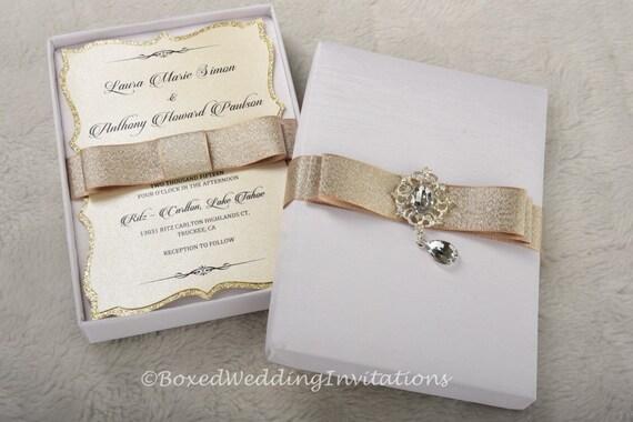 Couture Einladung Box / Luxus Einladung Kasten / Box Seide